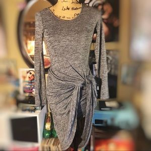 NWT- Adrianna Papell Gray Front Tie Contour Dress